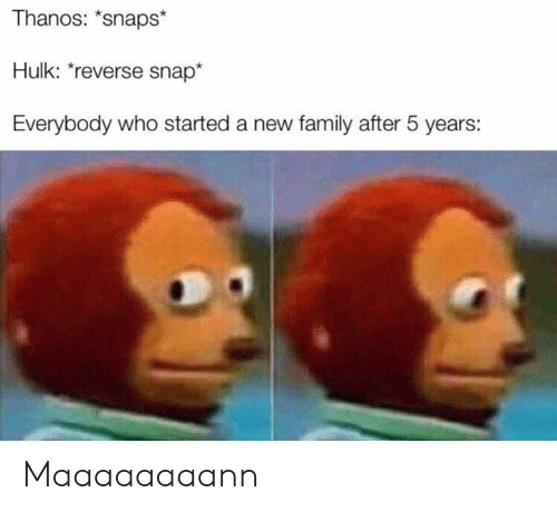 Family, Hulk, and Dank Memes: Thanos: *snaps*  Hulk: reverse snap*  Everybody who started a new family after 5 years: Maaaaaaaann