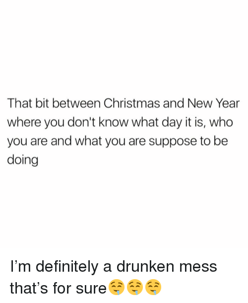 Christmas, Definitely, and Funny: That bit between Christmas and New Year  where you don't know what day it is, who  you are and what you are suppose to be  doing I'm definitely a drunken mess that's for sure🤤🤤🤤