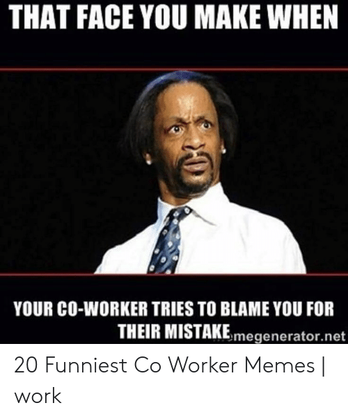 Co Worker Memes: THAT FACE YOU MAKE WHEN  YOUR CO-WORKER TRIES TO BLAME YOU FOR  THEIR MISTAKEmegenerator.net 20 Funniest Co Worker Memes | work