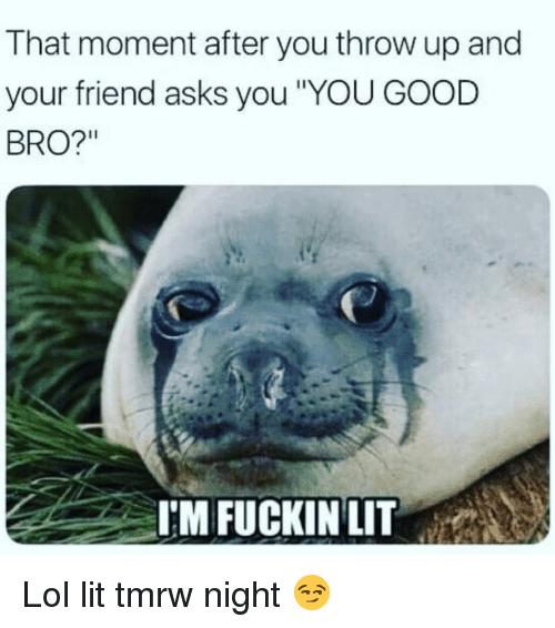 """Funny, Lit, and Lol: That moment after you throw up and  your friend asks you YOU GOOD  BRO?""""  I'M FUCKINLIT Lol lit tmrw night 😏"""