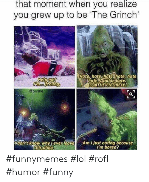 The Grinch: that moment when you realize  you grew up to be 'The Grinch'  Hate, hate, hate, hate hate  hote. Double hate  OATHE ENTIRELY!  @bustle  don't know why lever leave  this ploce.  Am I just eating because  I'm bored? #funnymemes #lol #rofl #humor #funny