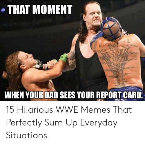 Dad, Memes, and World Wrestling Entertainment: THAT MOMENT  WHEN YOUR DAD SEES YOUR REPORTCARD 15 Hilarious WWE Memes That Perfectly Sum Up Everyday Situations