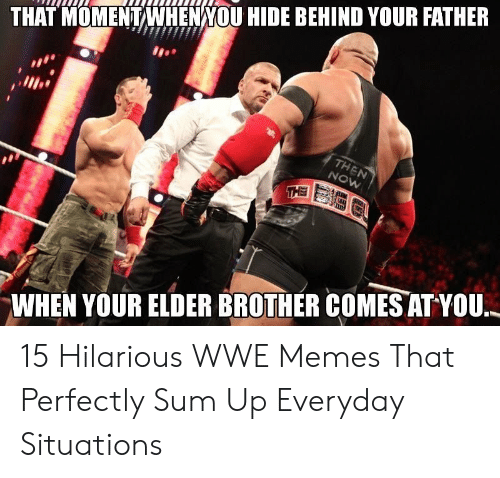 Memes, World Wrestling Entertainment, and Hilarious: THAT MOMENTWHENNOU HIDE BEHIND YOUR FATHER  WHEN YOUR ELDER BROTHER COMES ATYOU, 15 Hilarious WWE Memes That Perfectly Sum Up Everyday Situations