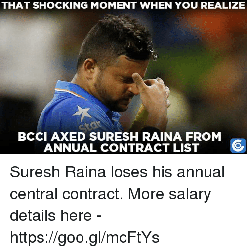 Memes, 🤖, and List: THAT SHOCKING MOMENT WHEN YOU REALIZE  BCCI AXED SURESH RAINA FROM  ANNUAL CONTRACT LIST Suresh Raina loses his annual central contract.  More salary details here - https://goo.gl/mcFtYs
