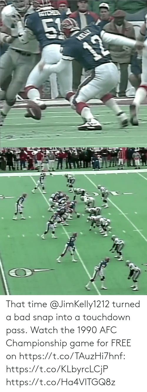 Turned: That time @JimKelly1212 turned a bad snap into a touchdown pass.  Watch the 1990 AFC Championship game for FREE on https://t.co/TAuzHi7hnf: https://t.co/KLbyrcLCjP https://t.co/Ha4VITGQ8z