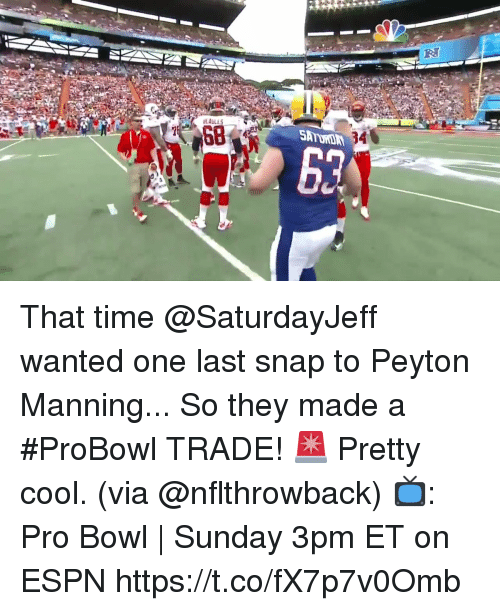 Peyton: That time @SaturdayJeff wanted one last snap to Peyton Manning... So they made a #ProBowl TRADE! 🚨  Pretty cool. (via @nflthrowback)  📺: Pro Bowl | Sunday 3pm ET on ESPN https://t.co/fX7p7v0Omb