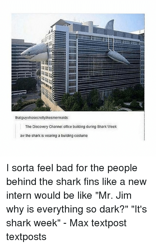 "Bad, Be Like, and Memes: thatguywhosecretlylikesmermaids  The Discovery Channel office building during Shark Week  aw the shark is wearing a building costume I sorta feel bad for the people behind the shark fins like a new intern would be like ""Mr. Jim why is everything so dark?"" ""It's shark week"" - Max textpost textposts"