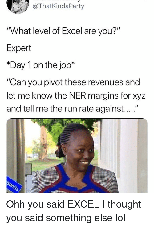 "Funny, Lol, and Run: ThatKindaParty  ""What level of Excel are you?""  Expert  *Day 1 on the job*  ""Can you pivot these revenues and  let me know the NER margins for xyz  and tell me the run rate against...."" Ohh you said EXCEL I thought you said something else lol"