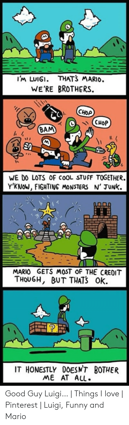 Funny Mario Memes: THATS MARIO.  I'm LUIGI.  WE'RE BROTHERS  CНОР  CHOP  BAM  WE DO LOTS OF COOL STUFF TOGETHER.  Y'KNOW, FIGHTING MONSTERS N' JUNK  MARIO GETS MOST OF THE CREDIT  THOUGH, BUT THATS Ok  IT HONESTLY 0OESN'T BOTHER  ME AT ALL. Good Guy Luigi…   Things I love   Pinterest   Luigi, Funny and Mario