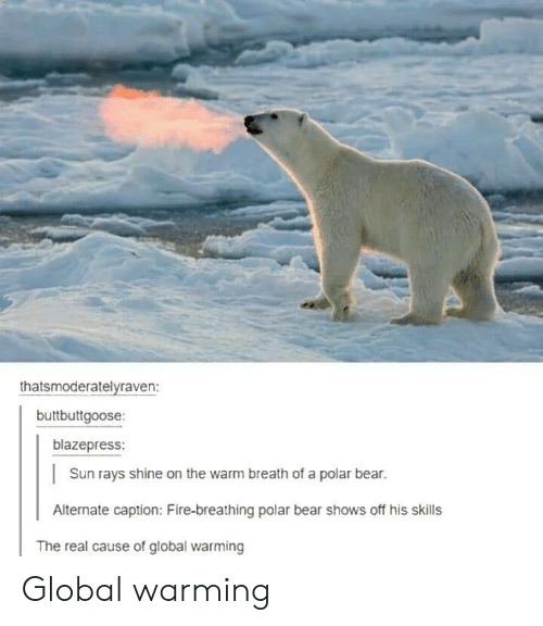 Globalism: thatsmoderatelyraven:  buttbuttgoose:  blazepress:  Sun rays shine on the warm breath of a polar bear.  Alternate caption: Fire-breathing polar bear shows off his skills  The real cause of global warming Global warming