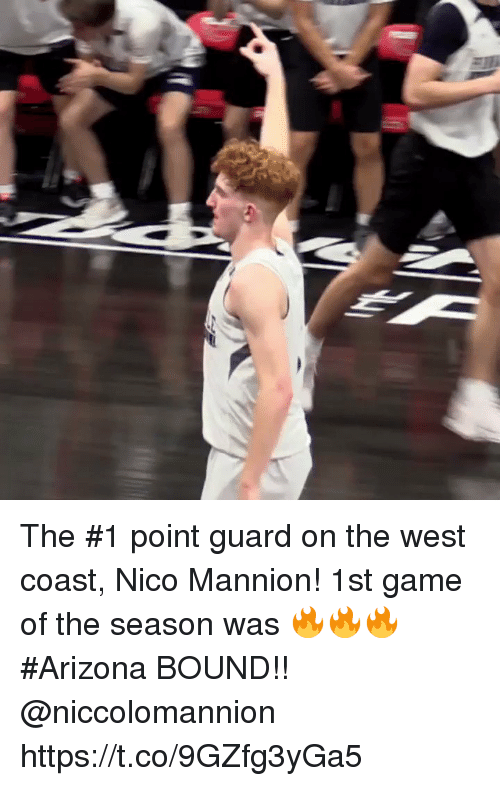 Memes, West Coast, and Arizona: The #1 point guard on the west coast, Nico Mannion! 1st game of the season was 🔥🔥🔥 #Arizona BOUND!! @niccolomannion https://t.co/9GZfg3yGa5