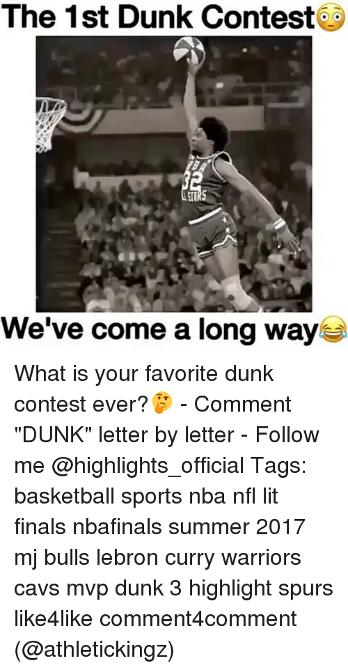 """Lebron Curry: The 1st Dunk Contest  We've come a long way What is your favorite dunk contest ever?🤔 - Comment """"DUNK"""" letter by letter - Follow me @highlights_official Tags: basketball sports nba nfl lit finals nbafinals summer 2017 mj bulls lebron curry warriors cavs mvp dunk 3 highlight spurs like4like comment4comment (@athletickingz)"""