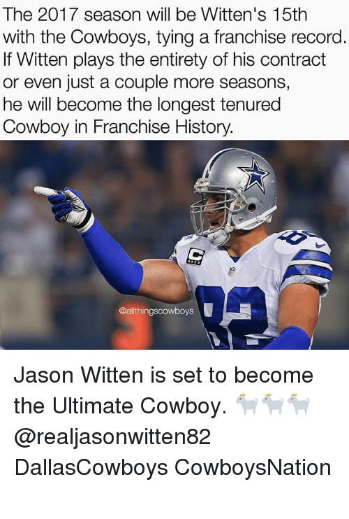jason witten: The 2017 season will be Witten's 15th  with the Cowboys, tying a franchise record  If Witten plays the entirety of his contract  or even just a couple more seasons,  he will become the longest tenured  Cowboy in Franchise History.  @al thingscowboys Jason Witten is set to become the Ultimate Cowboy. 🐐🐐🐐 @realjasonwitten82 DallasCowboys CowboysNation ✭