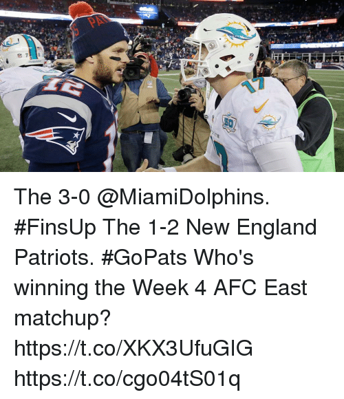 Afc East: The 3-0 @MiamiDolphins. #FinsUp The 1-2 New England Patriots. #GoPats  Who's winning the Week 4 AFC East matchup? https://t.co/XKX3UfuGIG https://t.co/cgo04tS01q