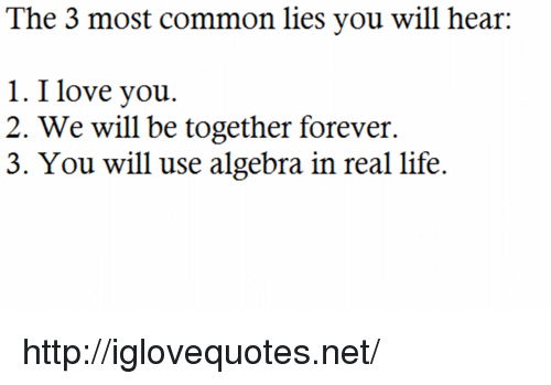 Life, Love, and I Love You: The 3 most common lies you will hear:  1. I love you.  2. We will be together forever.  3. You will use algebra in real life. http://iglovequotes.net/