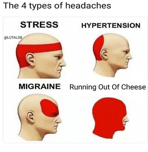 Migraine, Running, and Stress: The 4 types of headaches  STRESS  HYPERTENSION  @LUTALO8  MIGRAINE  Running Out Of Cheese