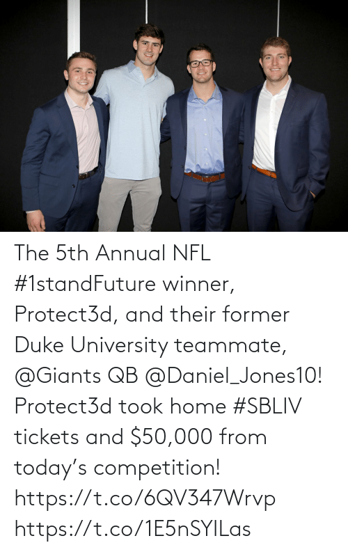daniel: The 5th Annual NFL #1standFuture winner, Protect3d, and their former Duke University teammate, @Giants QB @Daniel_Jones10!  Protect3d took home #SBLIV tickets and $50,000 from today's competition! https://t.co/6QV347Wrvp https://t.co/1E5nSYILas