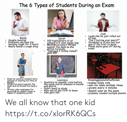"bed: The 6 Types of Students During an Exam  hnkstock  GOGRAFT  Josh  Looks like he just rolled out  of bed  ""Can I borrow your pencil?""  Stumbled in 15 min late but  gne of the first to leave  Phone alarm goes off during  exam  9970196936 www.gograph.com  a alamy stock photo  Randy  : Coughs nonstop  Everyone can hear his  hacking cough for 3 hours  Really needš a cough drop  Sarah  300 highlighters of all  colourš in a clear ziploc bag  Mechanical pencil thrums  against the desk as she  writes furiously  Ohmigod I totally failed!""  gets 100  3,3vj=pt  3y2a  Stocfd  Vhutter  L42/3w}  A-2.022  Ben  www.shutterstock.com - 1035172549  Knew he could've studied more  instead of wasting his time on  Reddit  Drums his pencil against the  desk and scratches his head a  lot  Writes joke responses for  questions he doesn't know in  hopes of sympathy points  Knasingiplomotofnofkinski  • lowkey kinda cute  • eats his table multiple times  growls every 5 minutes  • doesn't even do the exam  • probably invaded multiple planets  Laurence  Saunters in casually 1 min before  the exam starts dressed in hoodie  and shorts  Also one of the first to leave  Also gets 100 We all know that one kid https://t.co/xIorRK6QCs"