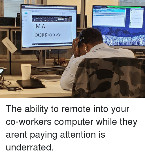 remote: The ability to remote into your co-workers computer while they arent paying attention is underrated.