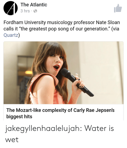 "sloan: The Atlantic  3 hrs  Fordham University musicology professor Nate Sloan  calls it ""the greatest pop song of our generation."" (via  Quartz)  The Mozart-like complexity of Carly Rae Jepsen's  biggest hits jakegyllenhaalelujah: Water is wet"