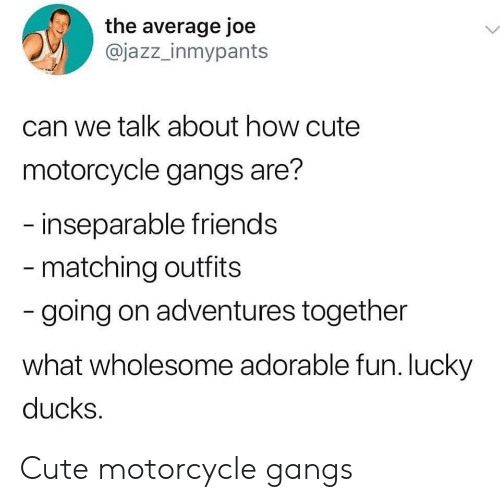 Cute, Friends, and Ducks: the average joe  @jazz_inmypants  can we talk about how cute  motorcycle gangs are?  -inseparable friends  - matching outfits  -going on adventures together  what wholesome adorable fun. lucky  ducks. Cute motorcycle gangs
