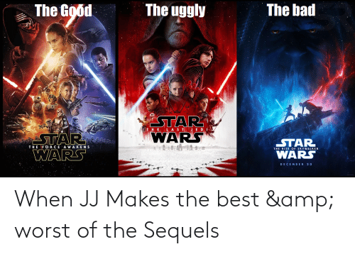 Uggly: The bad  The uggly  The Good  STAR  WARS  THE LASTJED  STAR  o  STAR  WARS  THE FORCE AWAKENS  THE RISE OF SKYWALKER  WARS  DECEMBER 20 When JJ Makes the best & worst of the Sequels