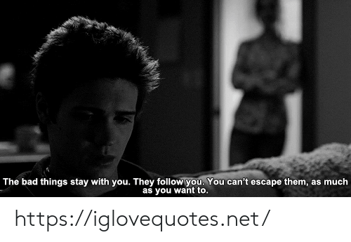 Bad, Net, and Them: The bad things stay with you. They follow you. You can't escape them, as much  as you want to. https://iglovequotes.net/