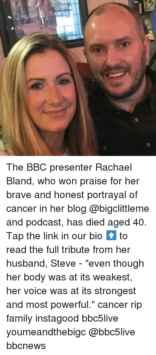 """Who Won: The BBC presenter Rachael Bland, who won praise for her brave and honest portrayal of cancer in her blog @bigclittleme and podcast, has died aged 40. Tap the link in our bio ⬆️ to read the full tribute from her husband, Steve - """"even though her body was at its weakest, her voice was at its strongest and most powerful."""" cancer rip family instagood bbc5live youmeandthebigc @bbc5live bbcnews"""
