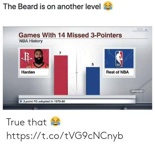 harden: The Beard is on another level  Games With 14 Missed 3-Pointers  NBA History  7  5  NBA  Harden  Rest of NBA  @NBAMEMES  3-point FG adopted in 1979-80 True that 😂 https://t.co/tVG9cNCnyb