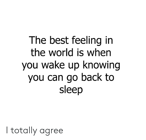 Dank, Best, and World: The best feeling in  the world is when  you wake up knowing  you can go back to  sleep I totally agree
