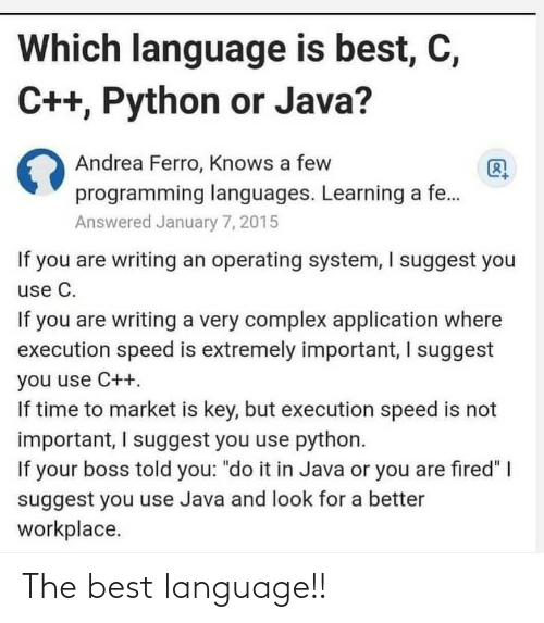 the best: The best language!!