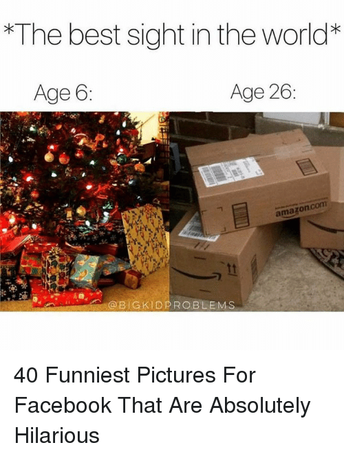 Facebook, Best, and Pictures: The best sight in the world*  Age 6  Age 26  amazonc  @BIGKIDPROBLEMS 40 Funniest Pictures For Facebook That Are Absolutely Hilarious