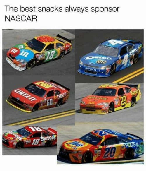nascar: The best snacks always sponsor  NASCAR