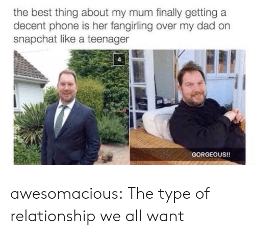Teenager: the best thing about my mum finally getting a  decent phone is her fangirling over my dad on  snapchat like a teenager  GORGEOUS!! awesomacious:  The type of relationship we all want