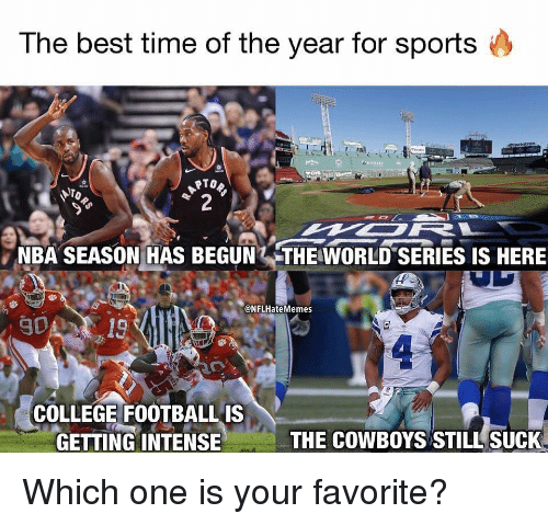 College, Dallas Cowboys, and Nba: The best time of the year for sports  NBA SEASON HAS BEGUN THE WORLD SERIES IS HERE  @NFLHateMemes  019  COLLEGE FOOTBALLIS  GETTING INTENSE  THE COWBOYS STILL SUCK Which one is your favorite?