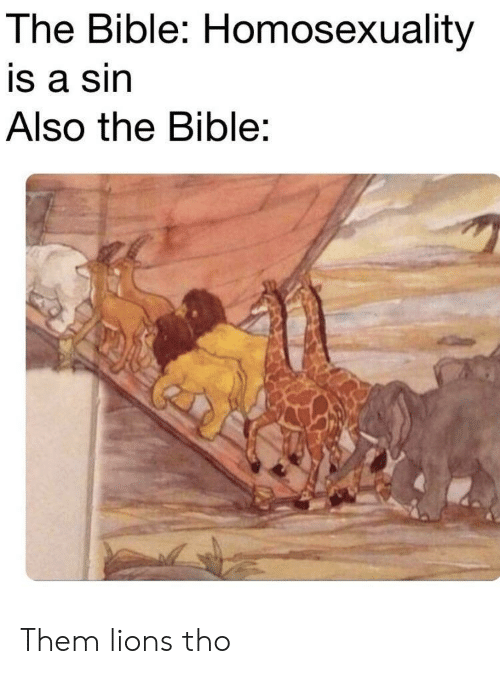 Bible, Lions, and Homosexuality: The Bible: Homosexuality  is a sin  Also the Bible: Them lions tho