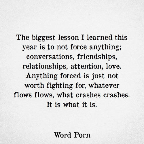 Crashes: The biggest lesson I learned this  year is to not force anything;  conversations, friendships,  relationships, attention, love.  Anything forced is just not  worth fighting for, whatever  flows flows, what crashes crashes.  It is what it is.  Word Porn