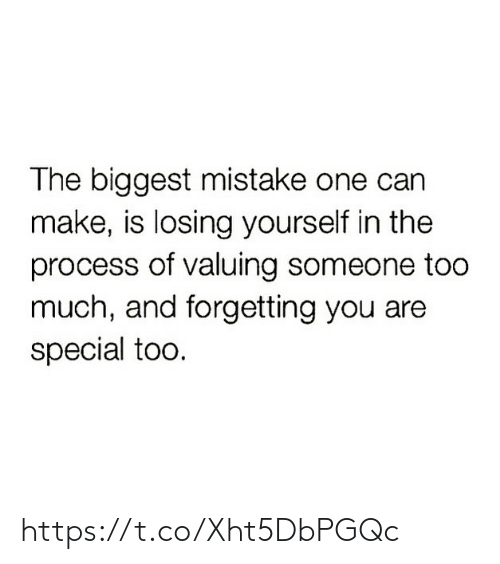 Memes, Too Much, and 🤖: The biggest mistake one can  make, is losing yourself in the  process of valuing someone too  much, and forgetting you are  special too. https://t.co/Xht5DbPGQc