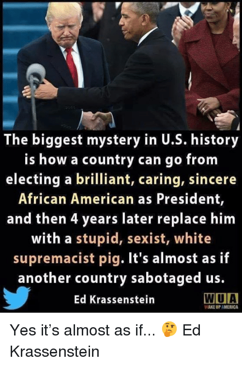 America, American, and History: The biggest mystery in U.S. history  is how a country can go from  electing a brilliant, caring, sincere  African American as President,  and then 4 years later replace him  with a stupid, sexist, white  supremacist pig. It's almost as if  another country sabotaged us.  Ed Krassenstein  WIUA  WAKE UP AMERICA Yes it's almost as if... 🤔  Ed Krassenstein