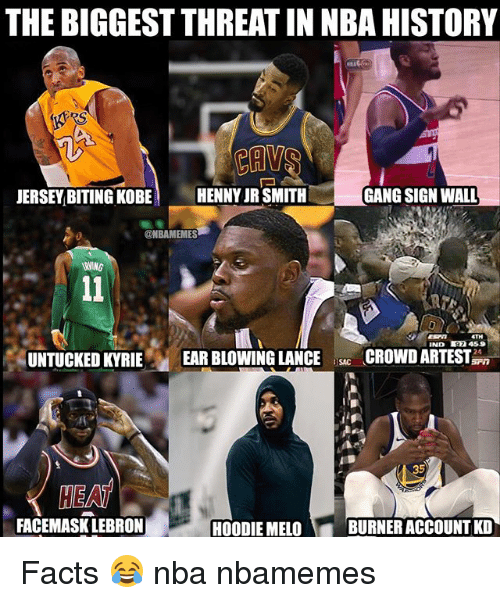J.R. Smith: THE BIGGEST THREAT IN NBA HISTORY  JERSEY BITING KOBE  HENNY JR SMITH  GANG SIGN WALL  @NBAMEMES  IND 7 459  UNTUCKED KYRIE EAR BLOWING LANCECROWDARTEST  SAC  HEAT  FACEMASK LEBRON  HOODIE MELO  BURNER ACCOUNT KD Facts 😂 nba nbamemes