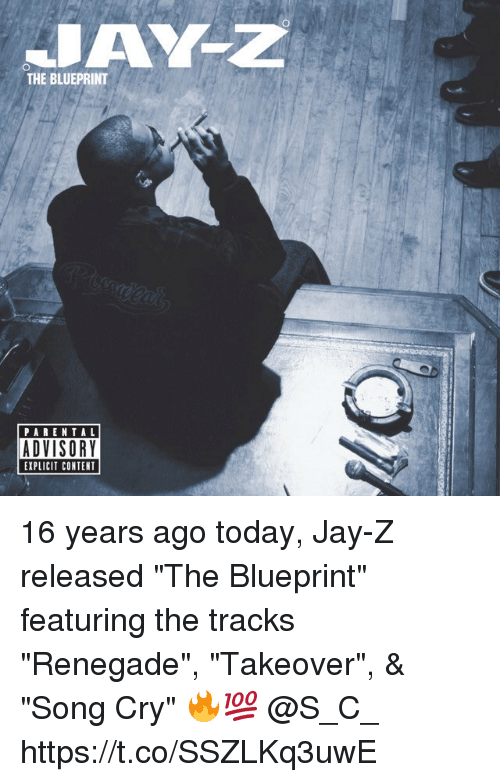 """contention: THE BLUEPRINT  PARENTAL  ADVISORY  EXPLICIT CONTENT 16 years ago today, Jay-Z released """"The Blueprint"""" featuring the tracks """"Renegade"""", """"Takeover"""", & """"Song Cry"""" 🔥💯 @S_C_ https://t.co/SSZLKq3uwE"""
