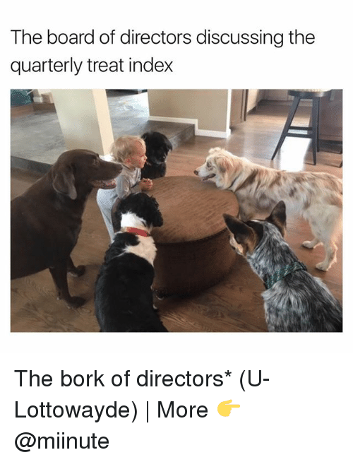 Borked: The board of directors discussing the  quarterly treat index The bork of directors* (U-Lottowayde) | More 👉 @miinute