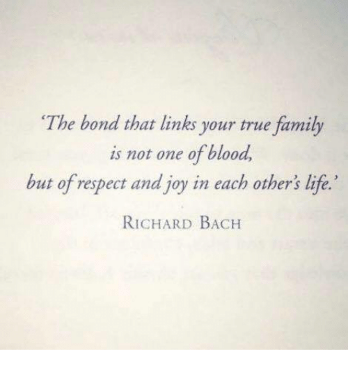 Family, Life, and Respect: The bond that links your true family  is not one of blood  but of respect and joy in each other's life.'  RICHARD BACH