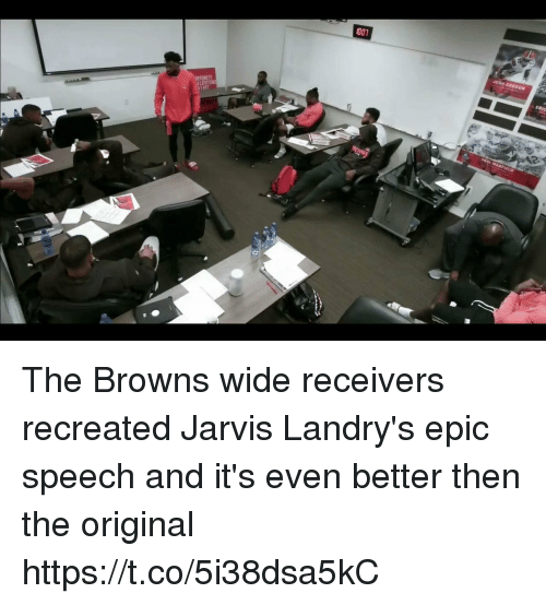 Nfl, Browns, and Epic: The Browns wide receivers recreated Jarvis Landry's epic speech and it's even better then the original  https://t.co/5i38dsa5kC
