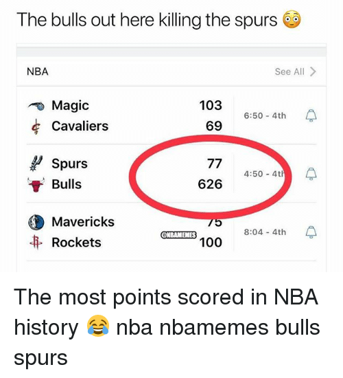 the bulls: The bulls out here killing the spurs  NBA  See All>  Magic  Cavaliers  103 6:50-4th  69  Spurs  Bulls  626 4:50-4 수  Mavericks  Rockets  ES  8:04 4th The most points scored in NBA history 😂 nba nbamemes bulls spurs