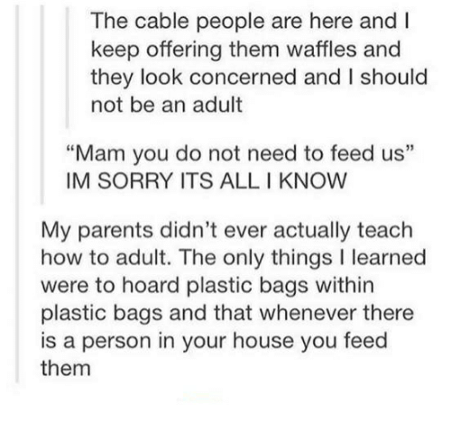 """Mamming: The cable people are here and I  keep offering them waffles and  they look concerned and I should  not be an adult  """"Mam you do not need to feed us""""  IM SORRY ITS ALL I KNOW  My parents didn't ever actually teach  how to adult. The only things I learned  were to hoard plastic bags within  plastic bags and that whenever there  is a person in your house you feed  them"""