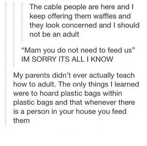 """Mamming: The cable people are here and  keep offering them waffles and  they look concerned and l should  not be an adult  """"Mam you do not need to feed us""""  IM SORRY ITS ALL KNOW  My parents didn't ever actually teach  how to adult. The only things l learned  were to hoard plastic bags within  plastic bags and that whenever there  is a person in your house you feed  them"""