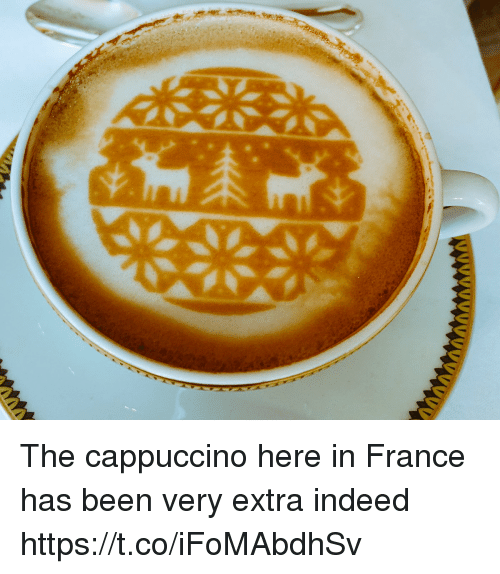Memes, France, and Indeed: The cappuccino here in France has been very extra indeed https://t.co/iFoMAbdhSv