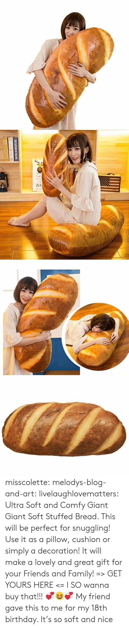 Decoration: THE CATCHER IN THE RYE misscolette:  melodys-blog-and-art: livelaughlovematters:  Ultra Soft and Comfy Giant Giant Soft Stuffed Bread. This will be perfect for snuggling! Use it as a pillow, cushion or simply a decoration! It will make a lovely and great gift for your Friends and Family! => GET YOURS HERE <=   I SO wanna buy that!!! 💞😆💞   My friend gave this to me for my 18th birthday. It's so soft and nice