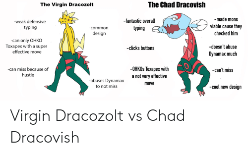 Virgin, Common, and Cool: The Chad Dracovish  The Virgin Dracozolt  -made mons  -fantastic overall  -weak defensive  viable cause they  typing  typing  -common  checked him  design  -can only OHKO  Toxapex with a super  effective move  -doesn't abuse  -clicks buttons  Dynamax much  -OHKOS Toxapex with  a not very effective  -can miss because of  -can't miss  hustle  -abuses Dynamax  move  -cool new design  to not miss Virgin Dracozolt vs Chad Dracovish
